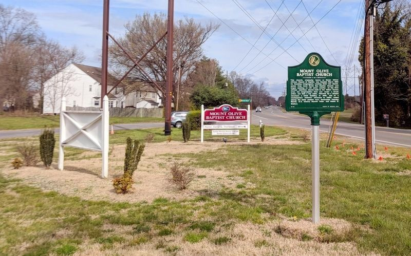 Mount Olive Baptist Church Marker (facing west) image. Click for full size.