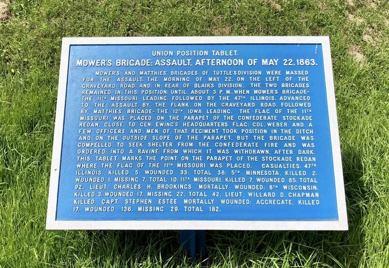 Mower's Brigade; Assault, Afternoon of May 22, 1863. Marker image. Click for full size.