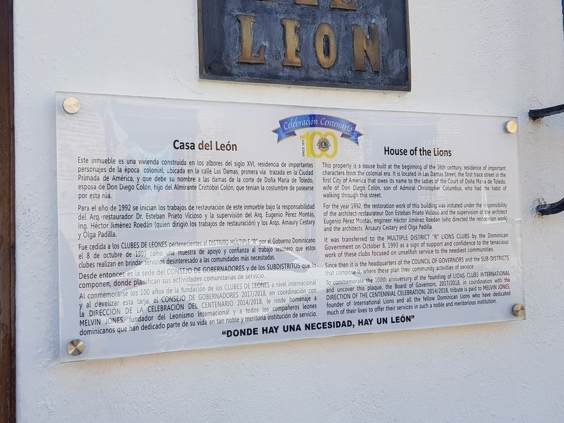House of the Lions Marker image. Click for full size.