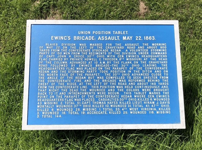 Ewing's Brigade; Assault, May 22, 1863. Marker image. Click for full size.