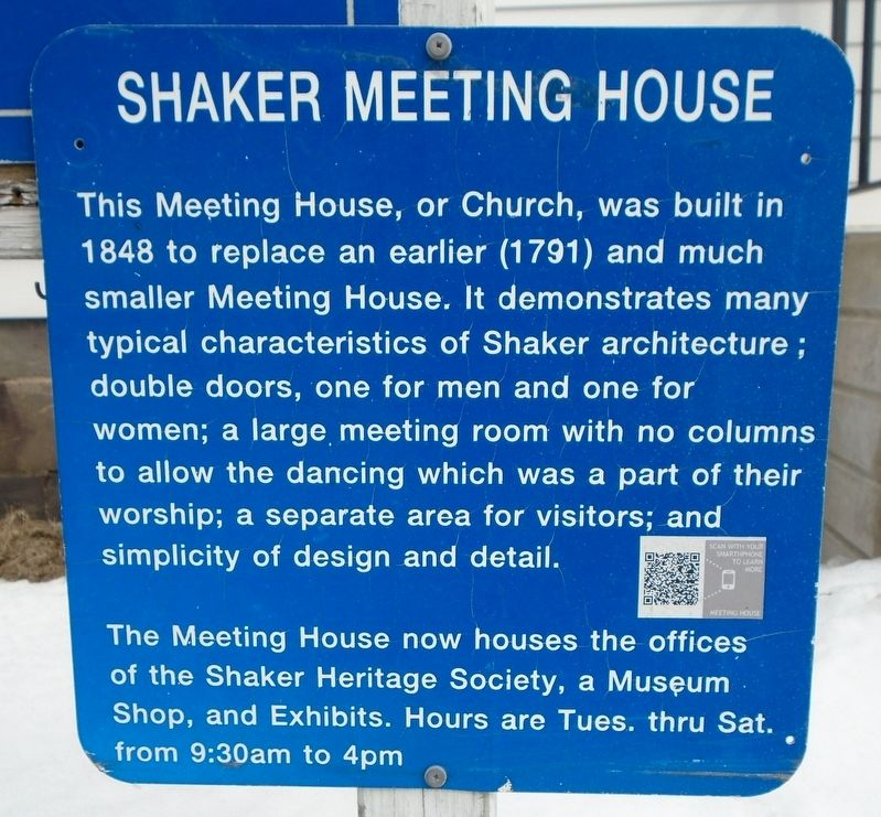 Shaker Meeting House Marker image. Click for full size.