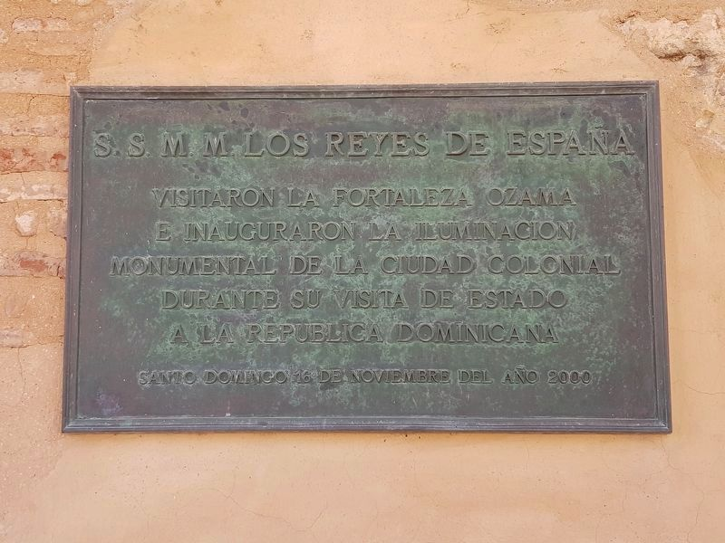 A nearby marker on the November 2000 visit to the Fortress by the Spanish royalty. image. Click for full size.