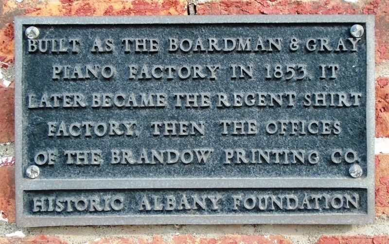 Boardman & Gray Piano Factory Marker image. Click for full size.