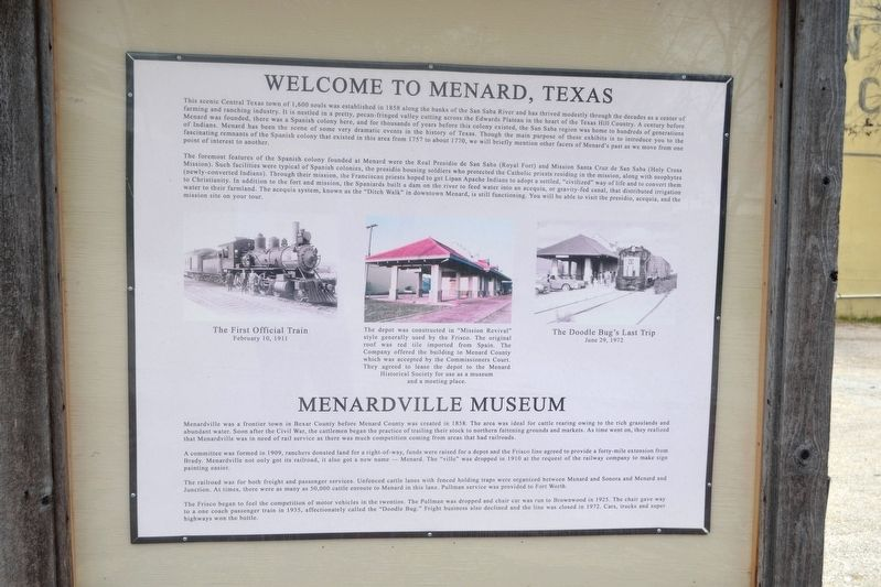 Welcome to Menard, Texas Marker image. Click for full size.