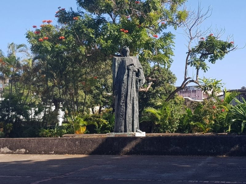A statue of Cristóbal de las Casas at The Old Archbishop's Palace image. Click for full size.
