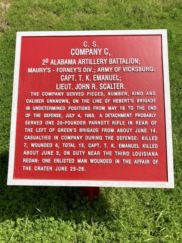 <small>C.S.</small> Company C, 2D Alabama Artillery Battalion; Marker image. Click for full size.