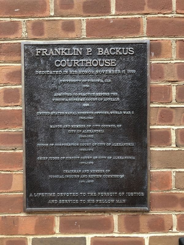 Franklin P. Backus Courthouse Marker image. Click for full size.