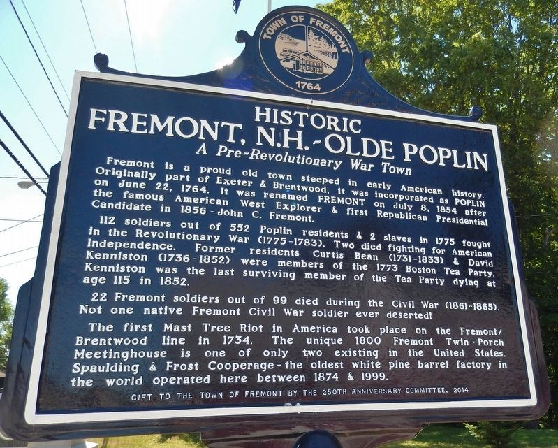 Historic Fremont, N.H. - Olde Poplin (<i>marker side 2</i>) image. Click for full size.