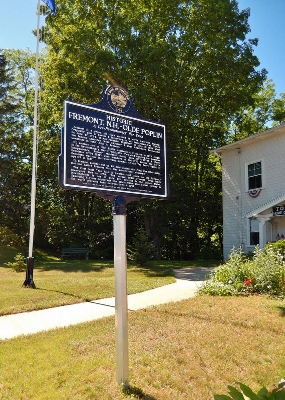 Historic Fremont, NH - Olde Poplin (<i>marker side 2; tall view</i>) image. Click for full size.