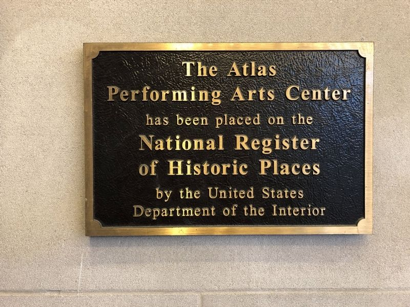 Plaque noting the Atlas Theater's status on the National Register of Historic Places image. Click for full size.