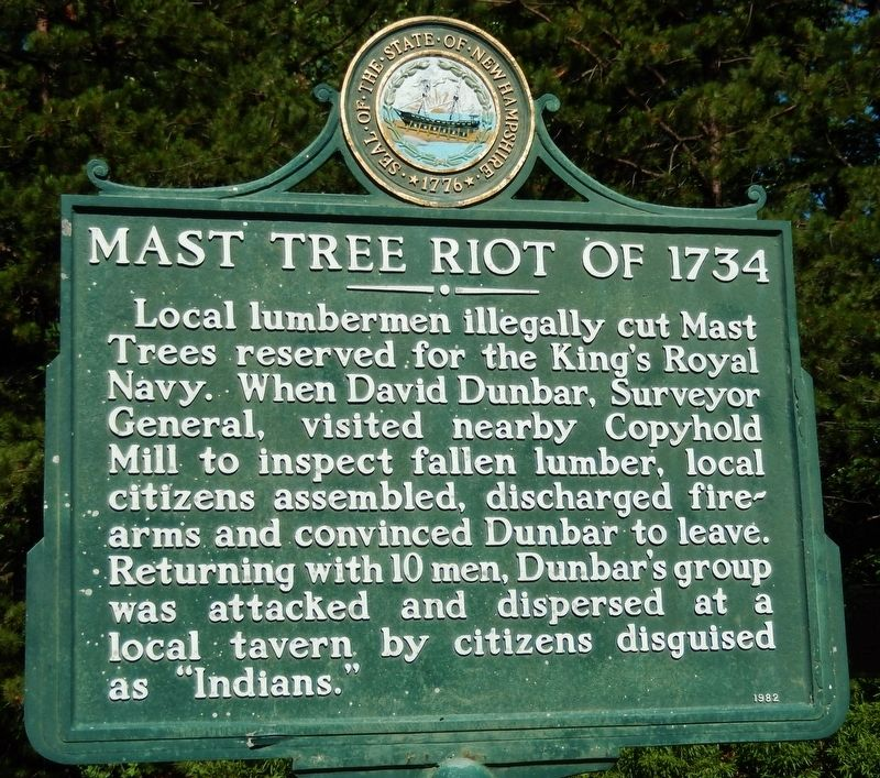 Mast Tree Riot of 1734 Marker image. Click for full size.