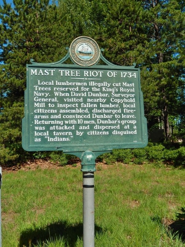 Mast Tree Riot of 1734 Marker (<i>tall view</i>) image. Click for full size.