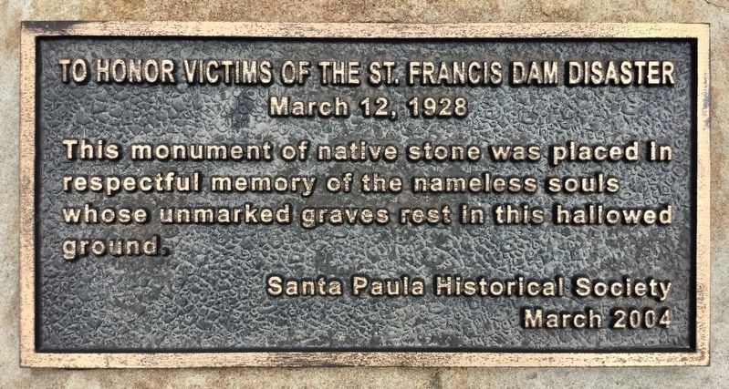 St. Francis Dam Disaster Marker image. Click for full size.