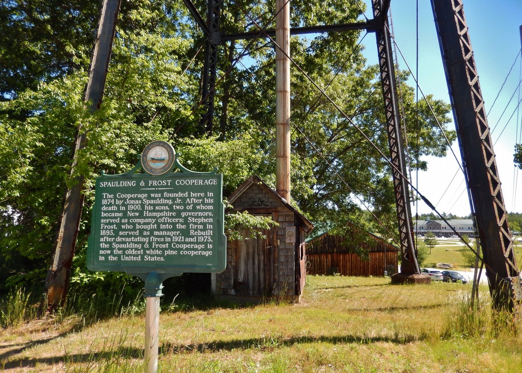 Spaulding & Frost Cooperage Marker (<i>wide view</i>) image. Click for full size.