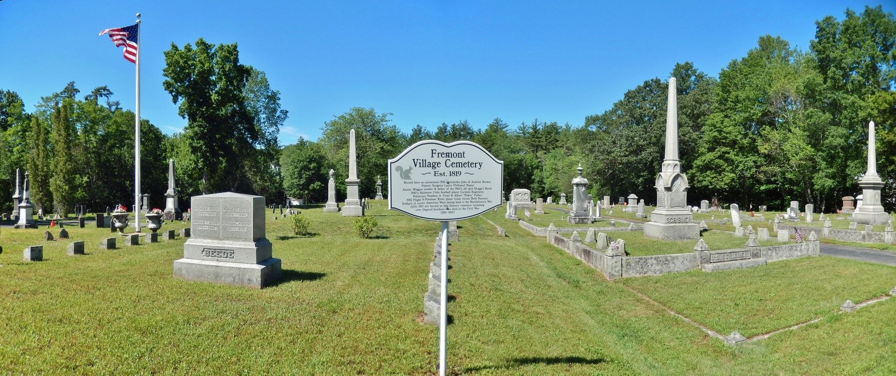 Fremont Village Cemetery Marker (<i>wide view</i>) image. Click for full size.