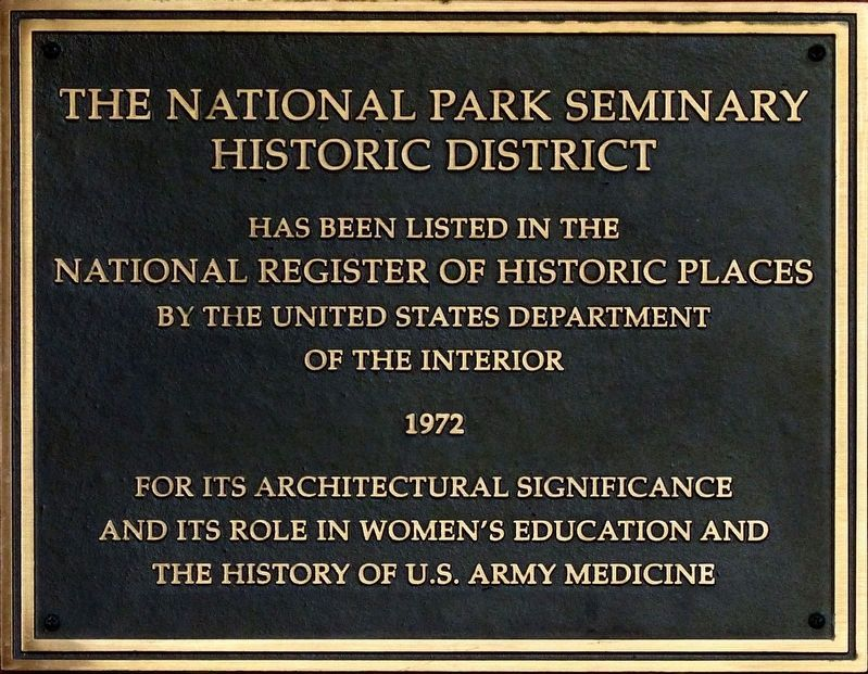 The National Park Seminary Marker image. Click for full size.