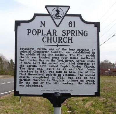 Poplar Spring Church Marker image. Click for full size.