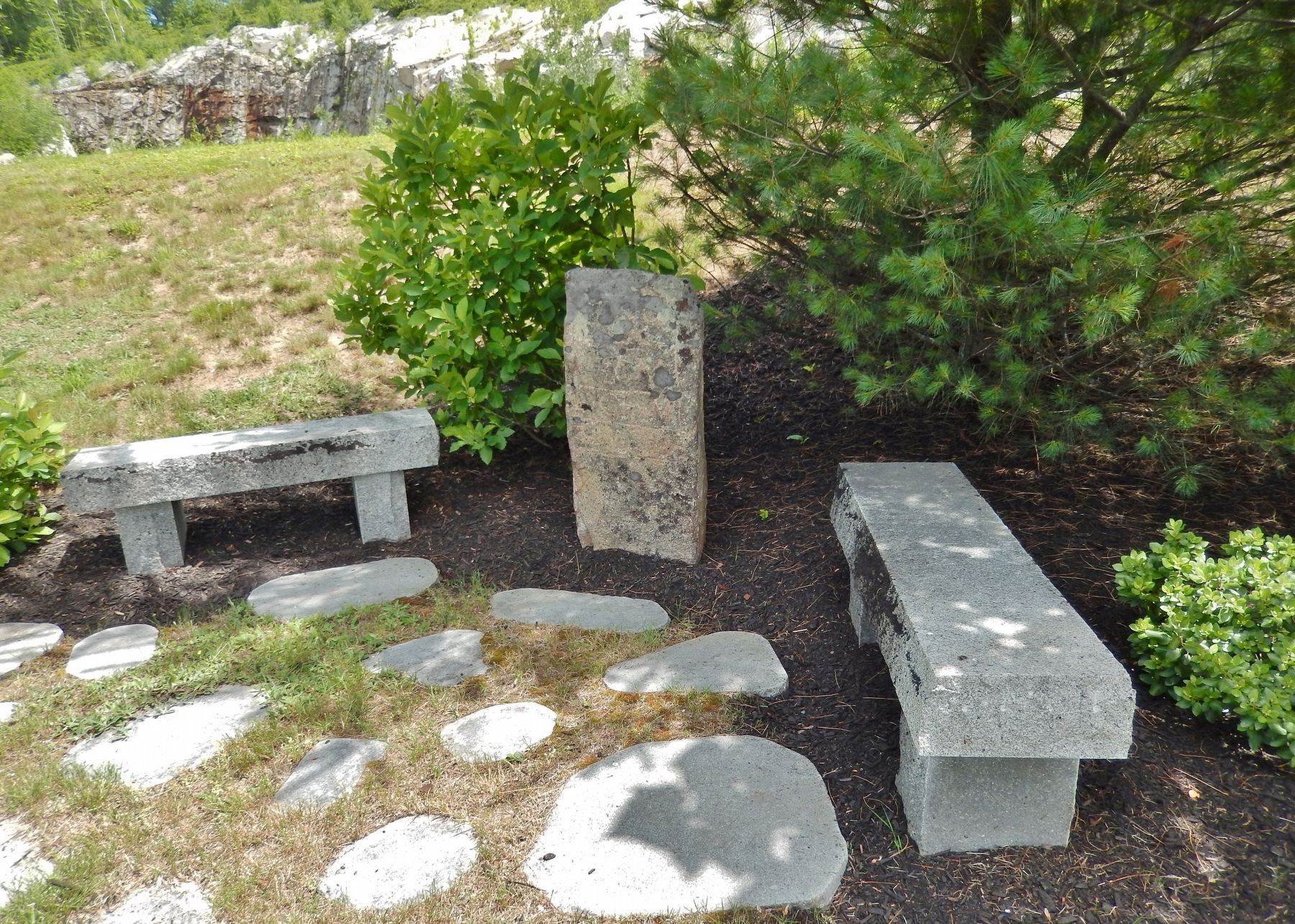 1790 Milestone (<i>wide view; showing adjacent benches</i>) image. Click for full size.