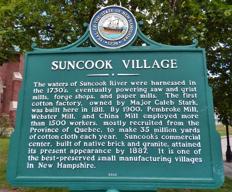 Suncook Village Marker image. Click for full size.