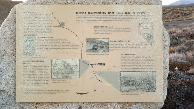 Historic Transportation From Honey Lake To Virginia City Marker image. Click for full size.