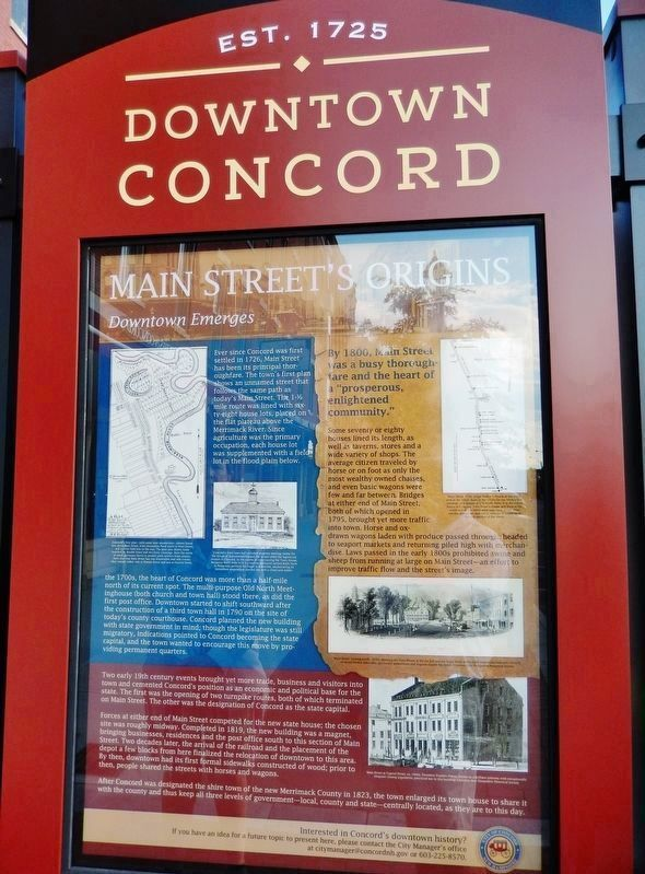 Main Street&#39;s Origins Marker (<i>tall view</i>) image. Click for full size.