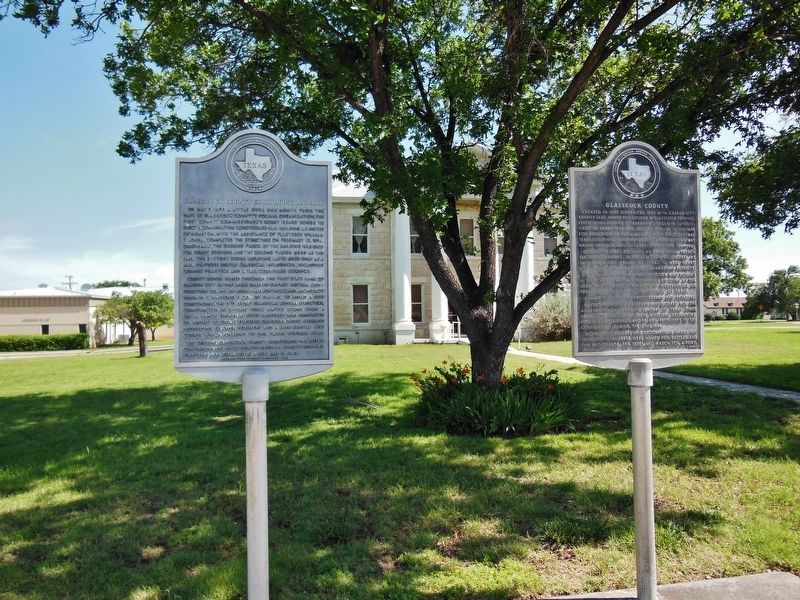 Glasscock County Courthouse and Jail Marker (<i>wide view; showing adjacent, related marker</i>) image. Click for full size.