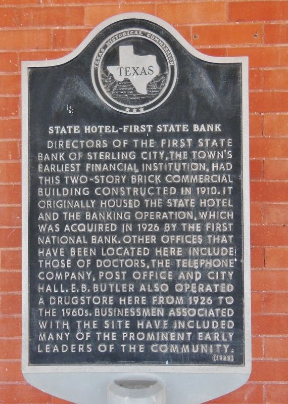 State Hotel – First State Bank Marker image. Click for full size.