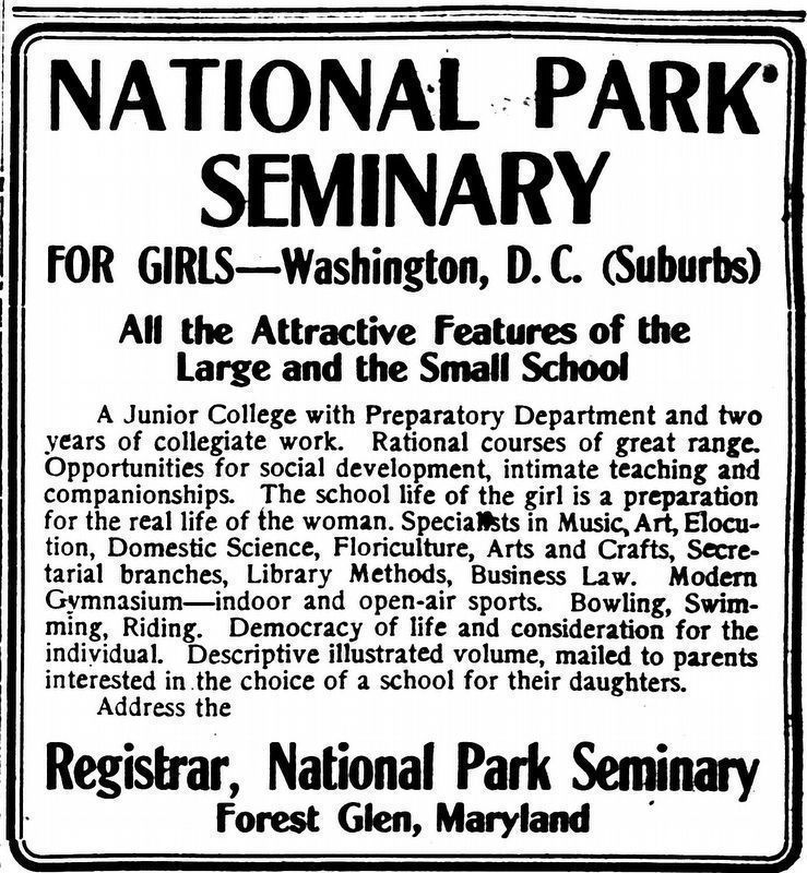 National Park Seminary<br>For Girls &#8212; Washington, D.C. (Suburbs) image. Click for full size.