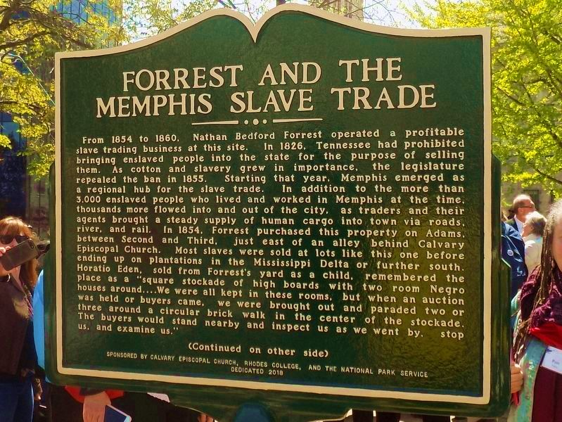 Forrest and the Memphis Slave Trade Marker image. Click for full size.
