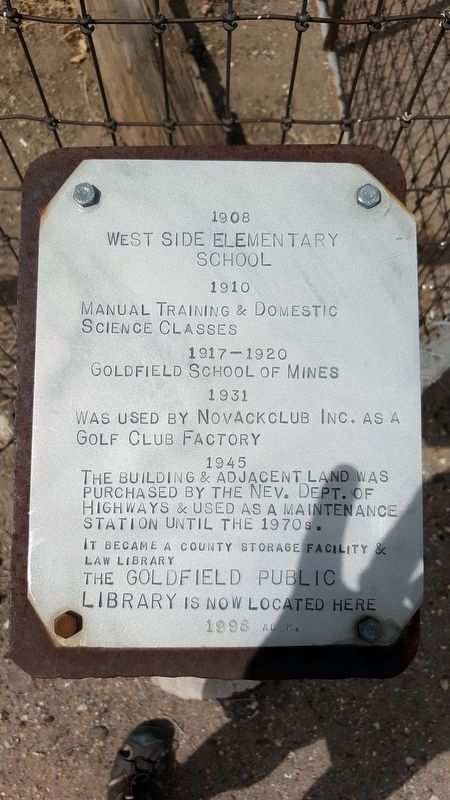 West Side Elementary School Marker image. Click for full size.