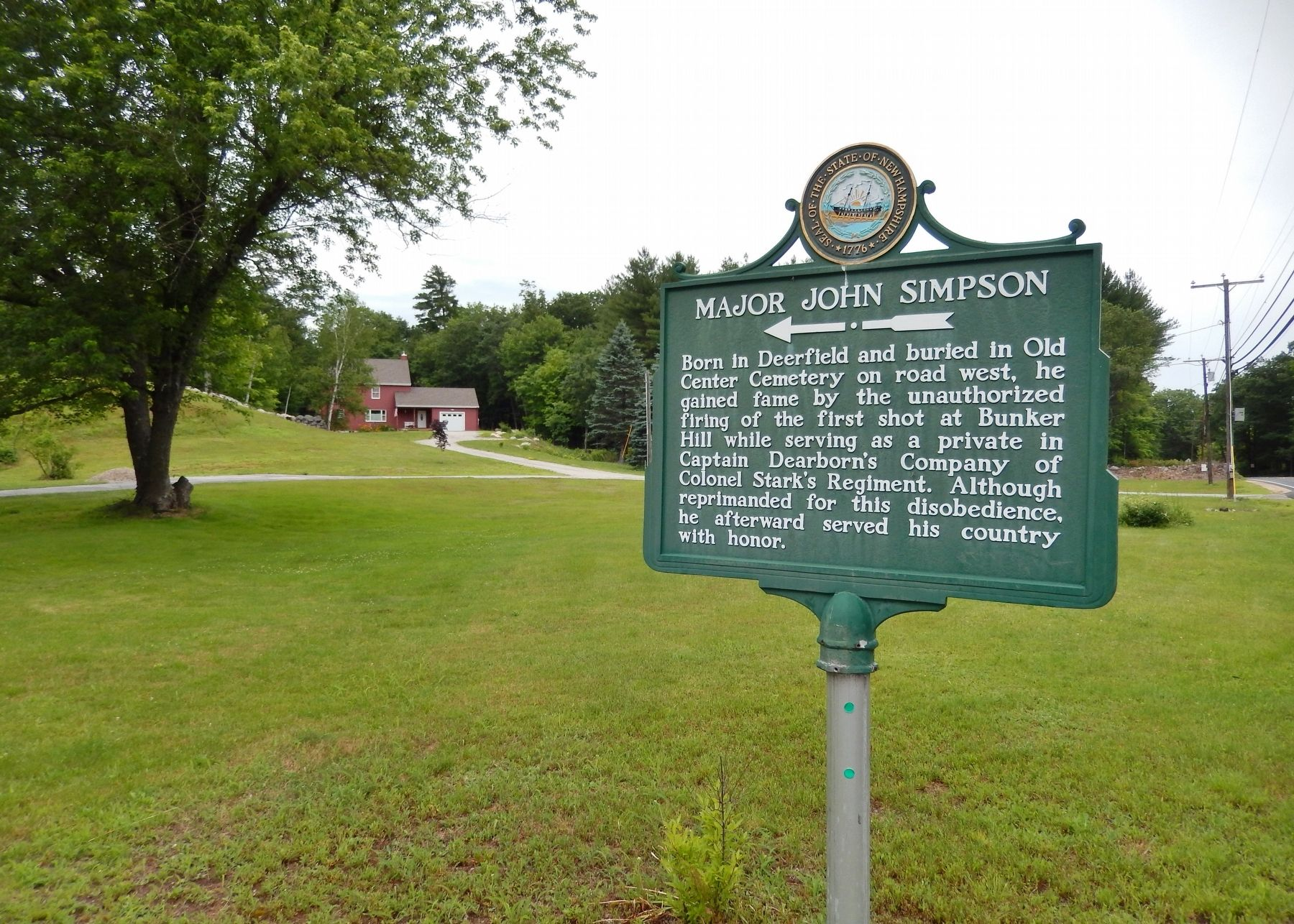 Major John Simpson Marker (<i>wide view</i>) image. Click for full size.