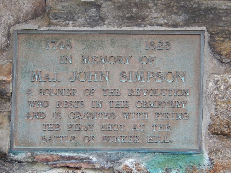 Major John Simpson Plaque (<i>on right post of cemetery entrance gate</i>) image. Click for full size.