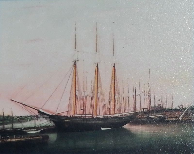 Marker detail: <i>View of Portsmouth Harbor from Nobles Bridge</i> image. Click for full size.