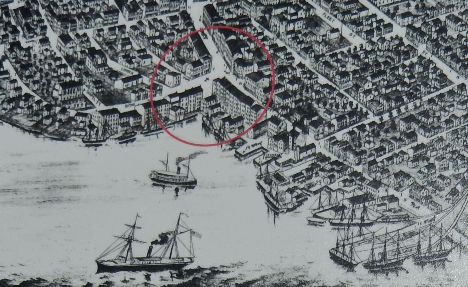 Marker detail: <i>Bird's Eye View of Portsmouth, Rockingham Co., New Hampshire 1877</i> image. Click for full size.