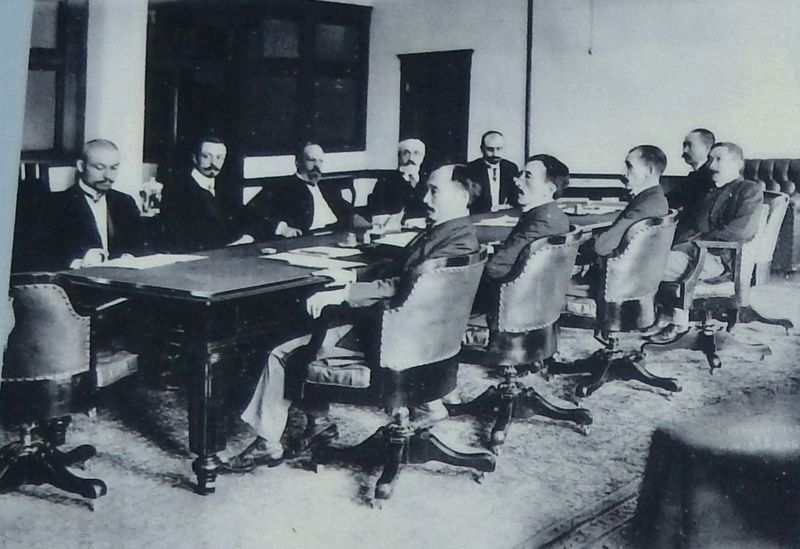 Marker detail: Japanese and Russian Delegates at Conference Table image. Click for full size.