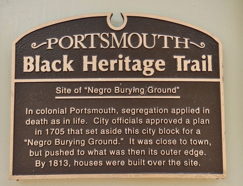 "Site of ""Negro Burying Ground"" Marker image. Click for full size."