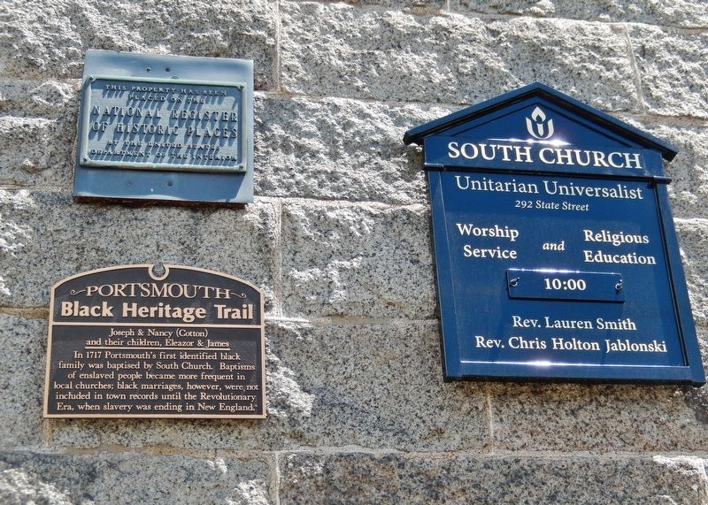 Joseph & Nancy (Cotton) Marker (<i>wide view; showing related South Church plaque & information</i>) image. Click for full size.
