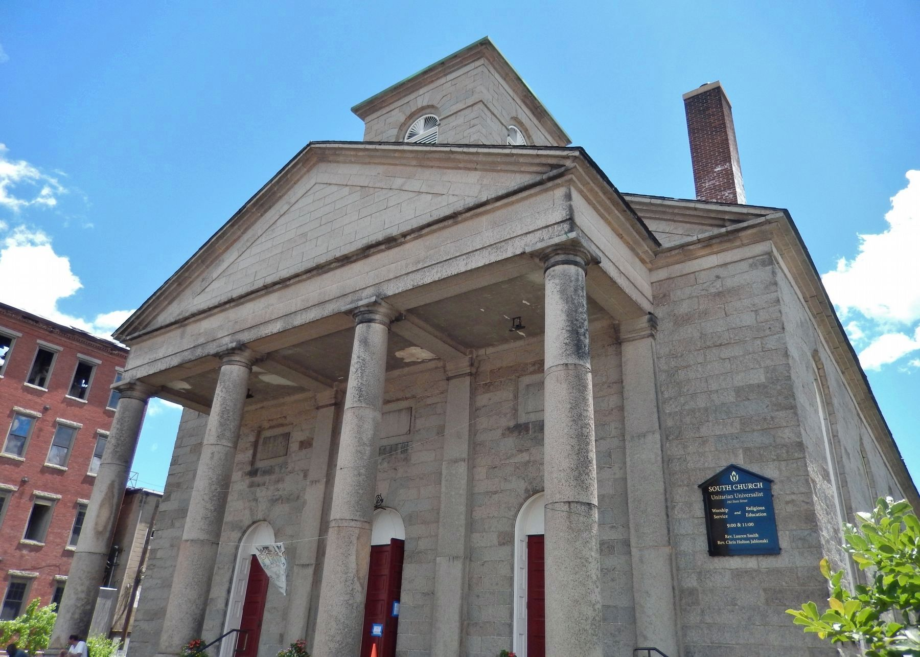 South Church (<i>marker is mounted on northwest corner of building; right edge of photo</i>) image. Click for full size.