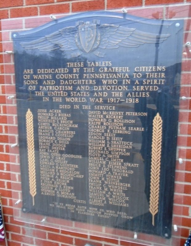 Wayne County World War I Memorial Marker image. Click for full size.