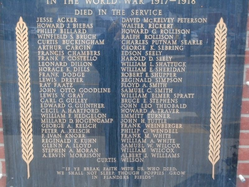 Wayne County World War I Memorial Honored Dead image. Click for full size.
