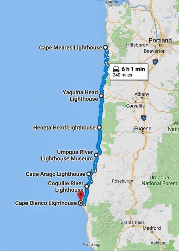 Lighthouses In Oregon Map.Heceta Head Lightstation Historical Marker