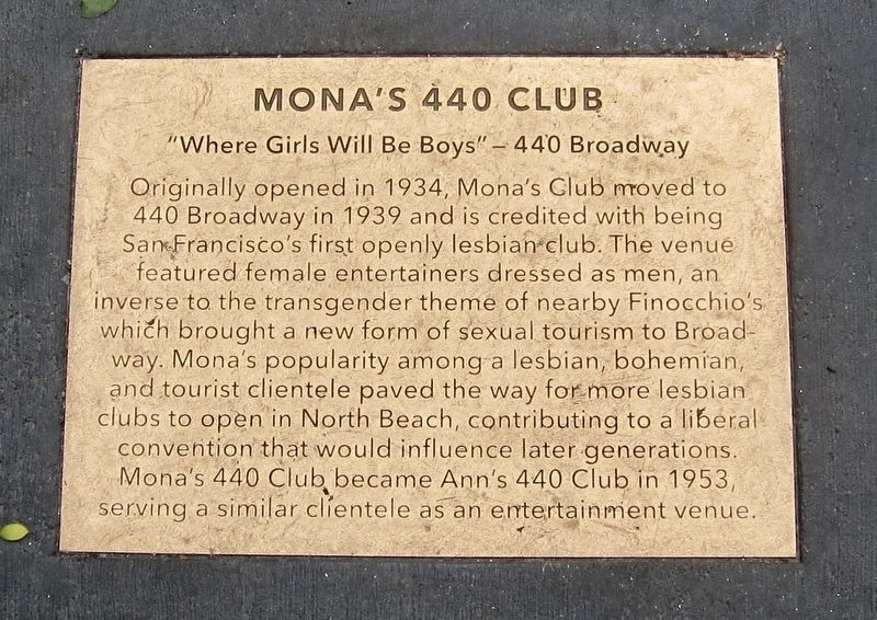 Mona's 440 Club Marker image. Click for full size.