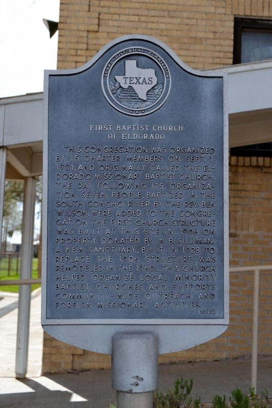 First Baptist Church of Eldorado Marker image. Click for full size.