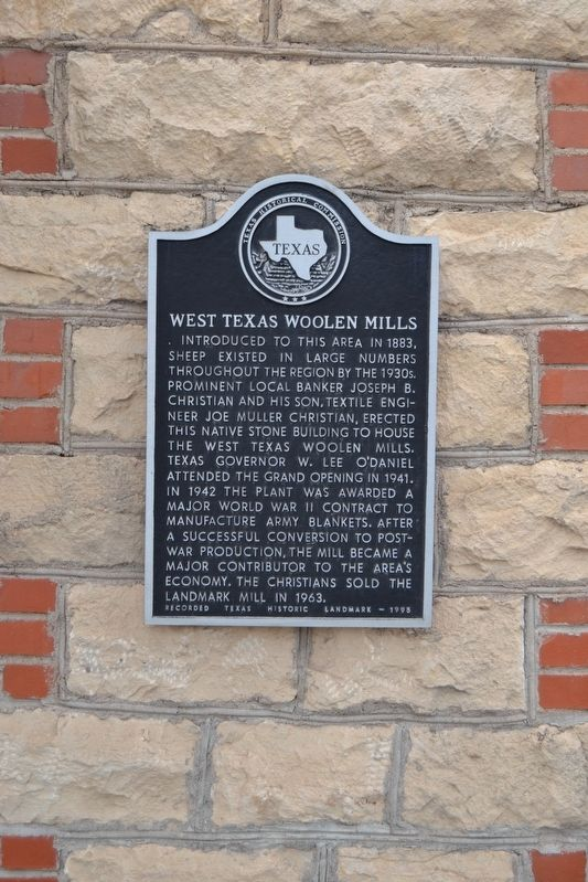 West Texas Woolen Mills Marker image. Click for full size.