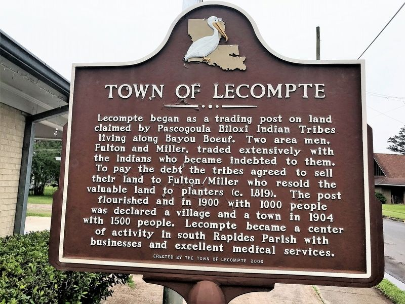 Town of Lecompte Marker image. Click for full size.