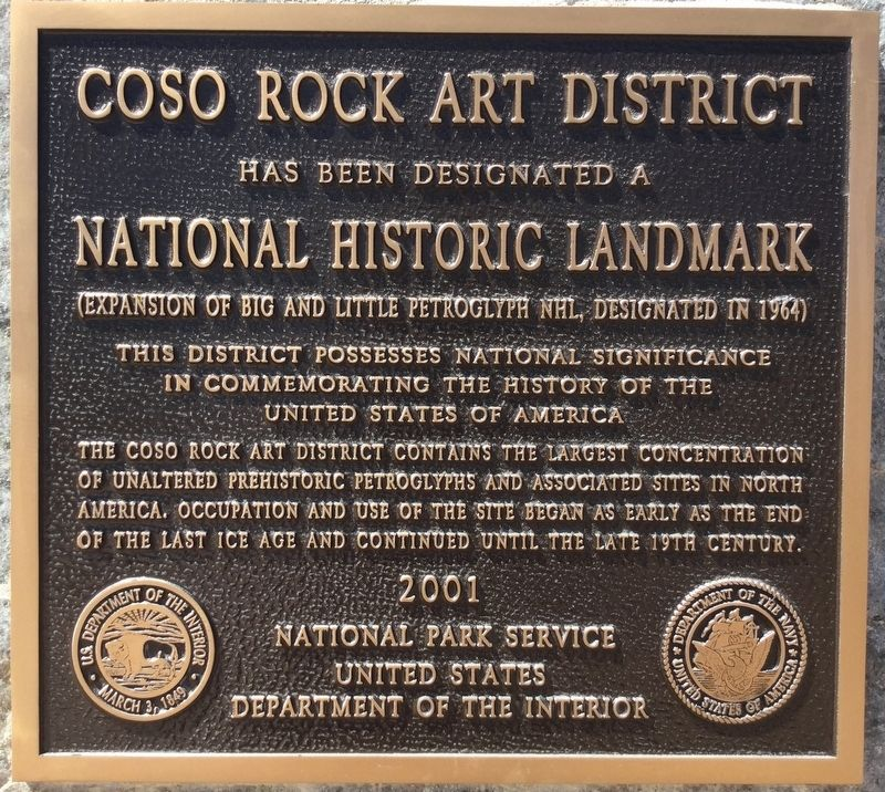 Coso Rock Art District Marker image. Click for full size.