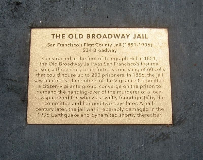 The Old Broadway Jail Marker image. Click for full size.