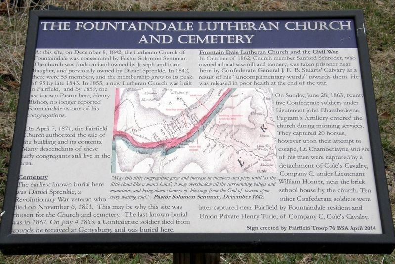 The Fountaindale Lutheran Church and Cemetery Marker image. Click for full size.