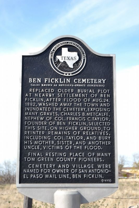 Ben Ficklin Cemetery Marker image. Click for full size.