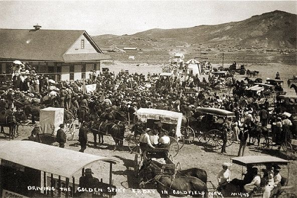 Driving the Golden Spike in Goldfield image. Click for full size.